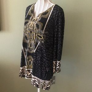 NWT Macy's JM Collection, stunning tunic, leopard